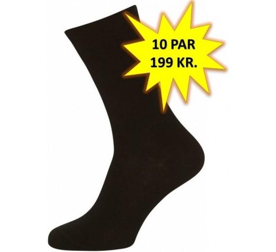 10 Par Gode Sorte Sokker (10-pak)