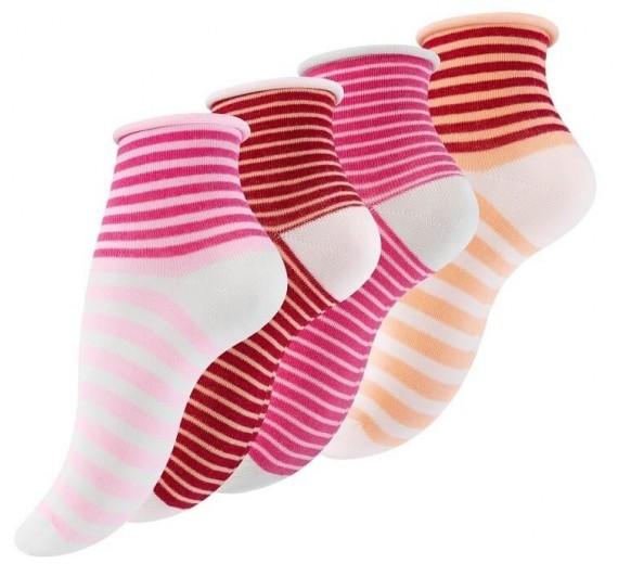 4 Par Damestrømper Med Rullekant Berry Stripes