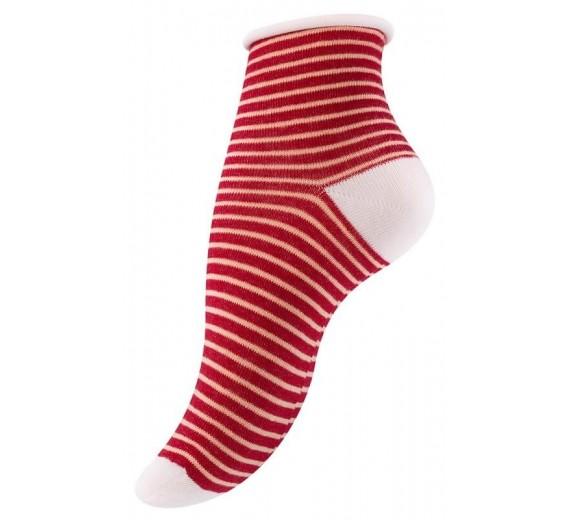 4 Par Damestrømper Med Rullekant Berry Stripes-01