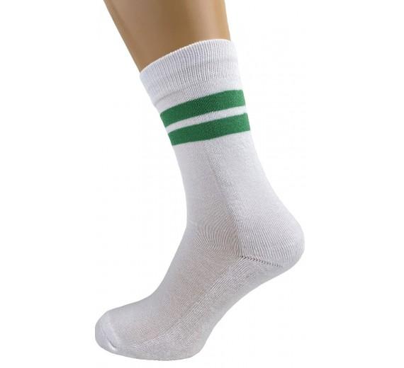 Hvide tennisstrømper med grønne striber - Str. 48-53