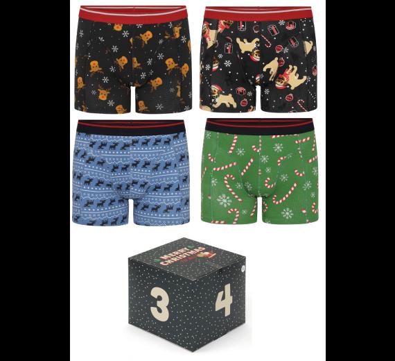 4 par jule-boxershorts i adventskalender