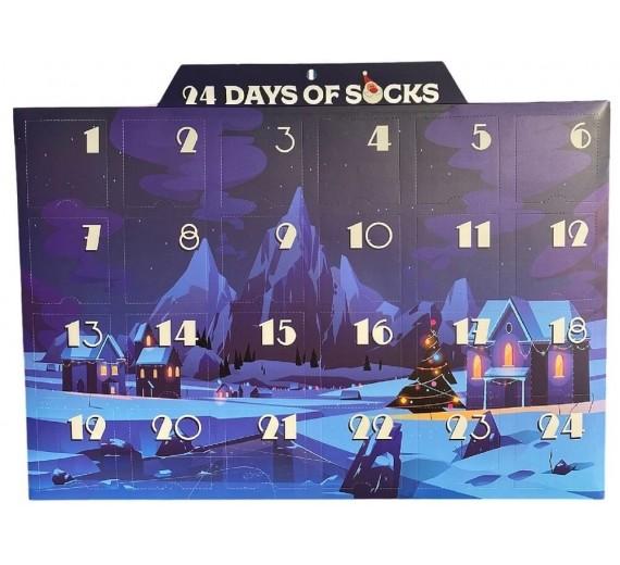 Pakke kalender med 24 par sorte sokker (bomuld)
