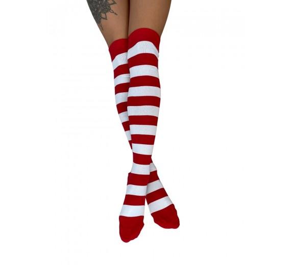 Lange knæstrømper med røde og hvide striber