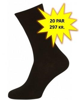 20 Par Sorte Sokker Størrelse 48-53 (20-pak)
