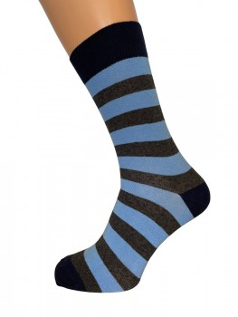 JBS strømper med blå og grå striber - Str. 40-47