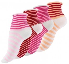 4 Par Damestrømper Med Rullekant Berry Stripes - Str. 35-38