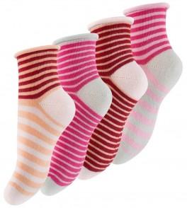 """4 par børnesokker """"Berry Stripes"""""""