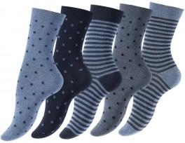 """5-Pak Damestrømper """"Dot Stripe"""" Blå"""