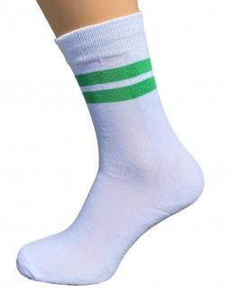 5 par hvide tennissokker med grønne striber - Str. 48-53