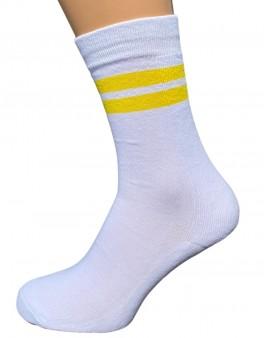 5 par hvide tennissokker med gule striber - Str. 48-53