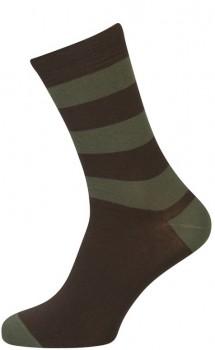 Brune Strømper Med Grønne Striber - Str. 47-50