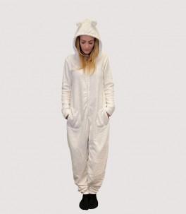 Hvid Decoy jumpsuit med ører - Str. small
