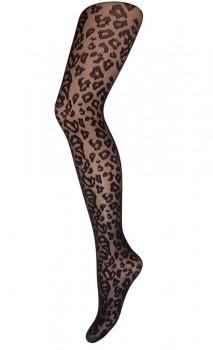 Decoy Leopard Strømpebukser Sort 20 Denier - Str. M/L