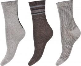 DECOY Glitter Socks in a box 3-pak, Grå