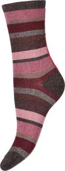 Decoy ankle sock glitter, Stribede Rosa