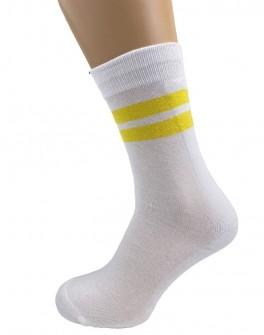 Hvide tennisstrømper med gule striber - Str. 48-53