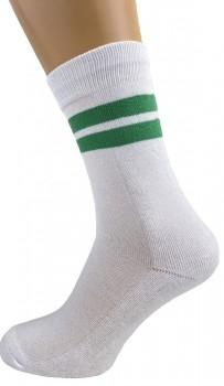 5 par hvide tennissokker med grønne striber
