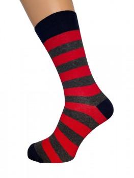 JBS strømper med røde og grå striber