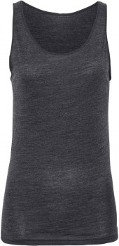 JBS of Denmark top wide strap i uld, bambus & silke, mørkegrå melange
