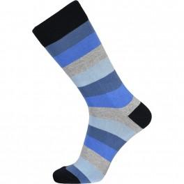 JBS sokker med blå og grå striber