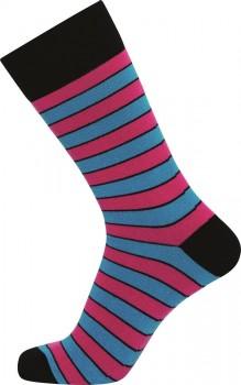 JBS sokker med lyserøde og blå striber