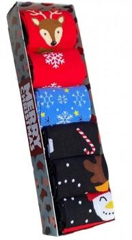 Pakke med 6 par julestrømper, str. 40-47