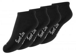 4 Par Kids Trainer Socks (Korte sokkker til børn), Sort
