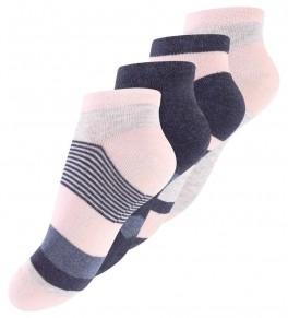 4 par Kids Trainer Socks, Denim & Pink