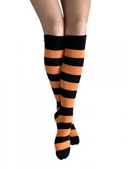 Knæstrømper med sorte og orange striber