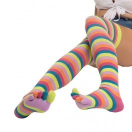 ToeToe Over Knee Knæsokker Med Adskilte Tæer, Flamingo