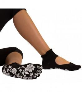 Sorte Yoga & Pilates Anti-Slip Tåstrømper Serene