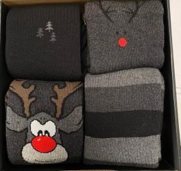 """4 par julesokker i gaveæske""""Rudolf"""" Vinterstrik"""