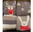 4 par julesokker i gaveæske grå og guld Vinterstrik