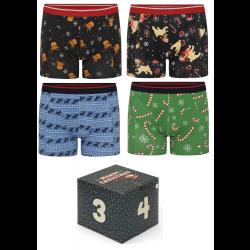 4 par jule-boxershorts i adventskalender - Str. 2XL