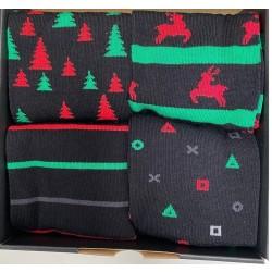 Gaveæske med 4 par sokker med julemotiv