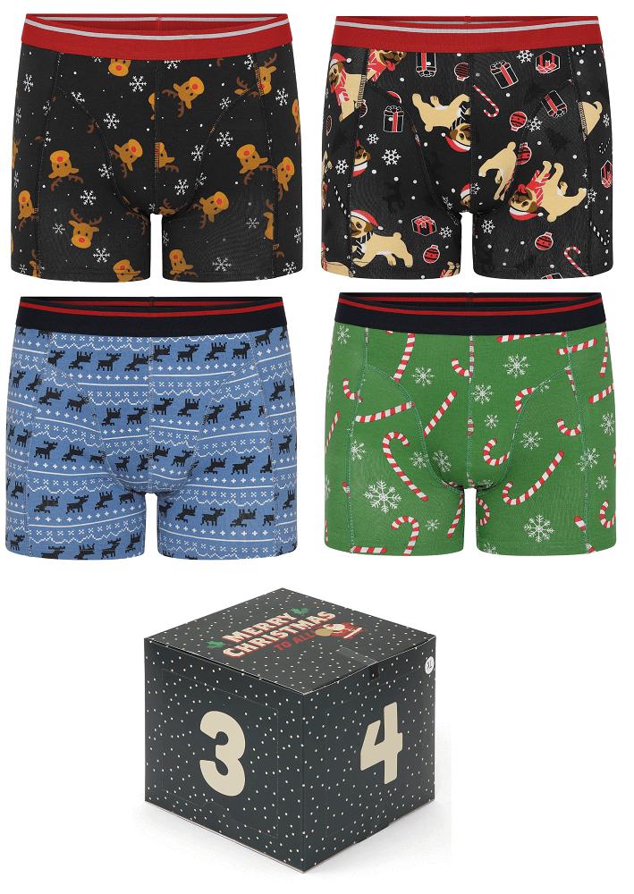 Billede af 4 par jule-boxershorts i adventskalender